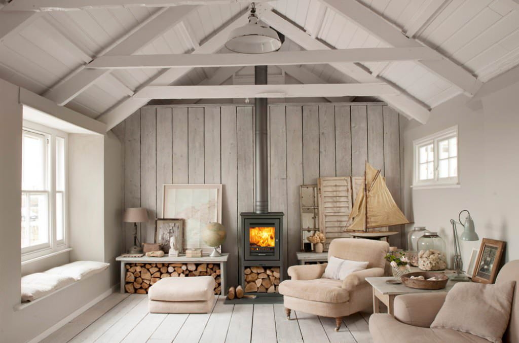 Wood Burning Stove Idea In Rustic Small Living Room ...